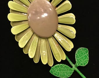 "Enormous 4""-Shades of Green Flower Pin Mid-Century Modern"