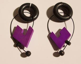 80s wood vintage earrings