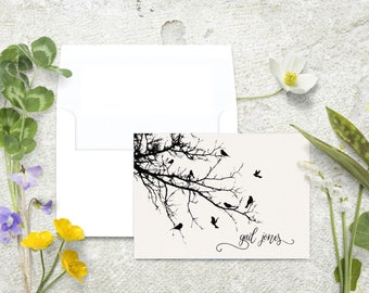 Personalized Note Cards, Birds in a Tree, Black and White Birds, Stationery Set, Nature Lover Gift, Black Birds, Notecard Set