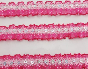 1 meter Ribbon organza lace sequin 3 centimeters wide