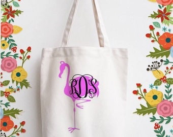 Monogrammed flamingo cotton tote bag , Pink flamingo on natural tote , personalized gift for flamingo lover , Summer Market Bag , Beach Bag