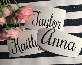 Any name decal , personalized vinyl sticker ,  bridesmaid gift , birthday party decor , diy wedding , lunchbox sticker , laptop decal