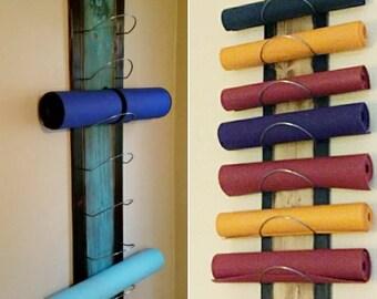 8 Tier Yoga Mat Holder - Wall mounted, yoga gifts, Yoga studios, yoga supplies
