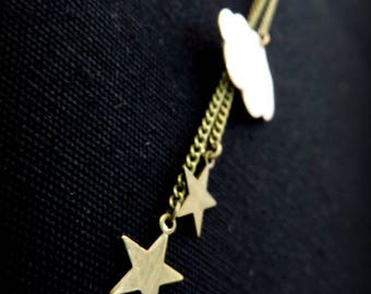 Necklace cloud with white enamel and brass stars