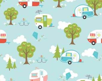 Riley Blake - Glamper Camper by Samantha Walker  - 100% cotton fabric - C6310R - Aqua - Fabric by the yard(s)