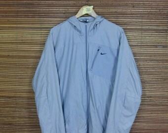 Vintage 1990's NIKE Windbreaker Hoodie Jacket Unisex Xlarge Nike Streetwear Trainer Swoosh Nike Sportswear Gray Windrunner Jacket Size XL