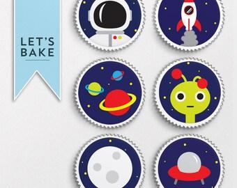 Space,cupcake topper,cake topper,edible,rice paper,space cake topper,space theme party,space cake topper,alien cake,space rocket cake,sp