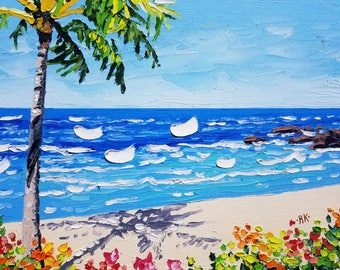 Palm tree painting, beach art canvas, knife oil painting, by palette knife artist Ryan Kimba