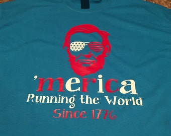 Abraham Lincoln Merica shirt. Running the world Tshirt . Fourth of July shirt. Stars and Stripes.
