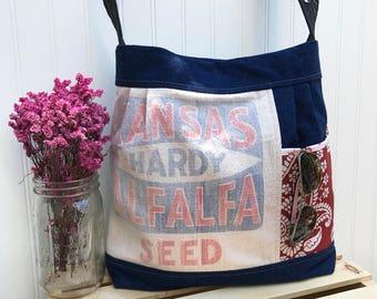 Upcycled Handbag, Shoulder Bag, Handmade Bag, Blue Purse, Pleated Handbag, Purse with Pockets, Mom Bag