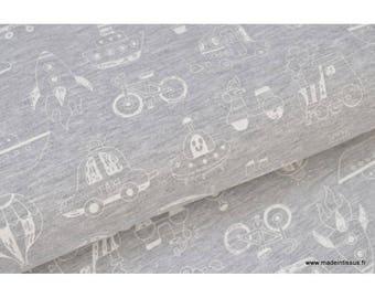 Jersey cotton printed spandex transport x50cm