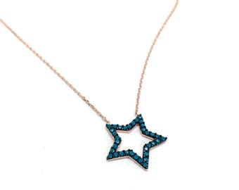 Gifts for Girls. Women Jewellery Blue Stones STAR Pendant Sterling Silver Necklace Rose Gold & Silver. FREE luxurious gift box. Star Jewelry