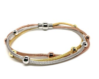 3 tone 925 Sterling Silver Bracelet with Beads and Magnetic Closure - Italian design Jewellery. Gift box included, Birthday Gifts for women.