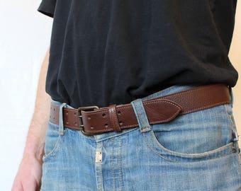 Brown leather belt; leather belt. Brown belt; men's belt