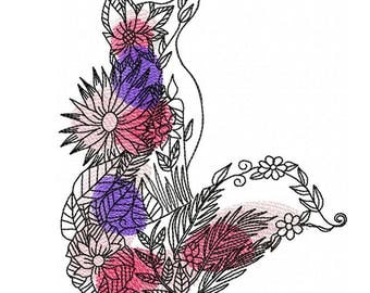 AF 005 Floral Fox - Machine Embroidery Design 5*7, 6*8  Embroidery Fox