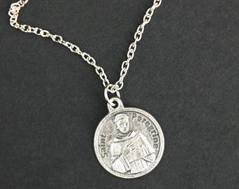 St Peregrine Necklace. Peregrine Prayer Necklace. Round Medal Necklace. Catholic Jewelry. Patron Saint Peregrine Necklace.
