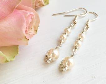 June Birthstone Earrings, Pearl Drop Earrings, Bridal Earrings, June Birthday, Bridal Jewelry, Clip On Pearl, Gift For Her, Anniversary Gift