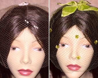 Lot of 2 Vintage 1950s 1960s 50s 60s Netting Veil Hats Green and Light Pink