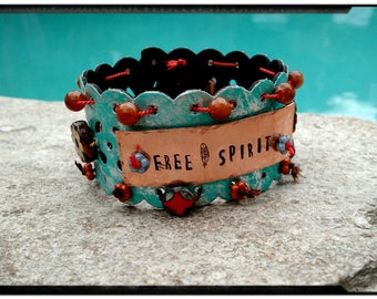 Free Spirit - Upcycled Colorful Turquoise Leather Cuff - Czech Beads//Hammered Copper//Button - Bohemian/Gypsy/Hippie/Youth