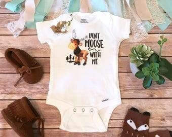 Moose Onesie®, Baby Boy Clothes, Funny Onesies, Woodland Baby Shower, Moose Baby Bodysuit, Cute Onesies, Canada Onesie, Don't Moose With Me