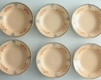 6 French plates, SAINT AMAND - plate diameter 23 cm, old French dishes