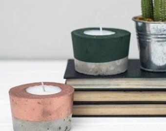 Concrete candle - Copper candle - Tea Light- Copper - Gift for her  - Tea light holder - Copper Decor - Wedding Decor - Concrete T Light