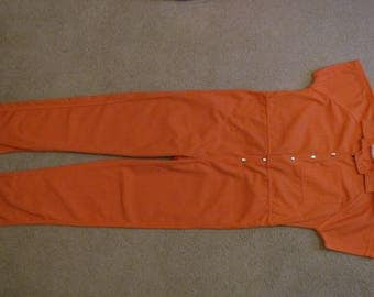Halloween real  Inmate Orange Prison Jumpsuit men's Large