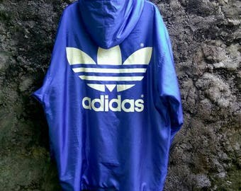 Vintage 90s ADIDAS Treefoil Big Logo, Long Jacket Fleece Lining. Size Mens Large.  Run Dmc
