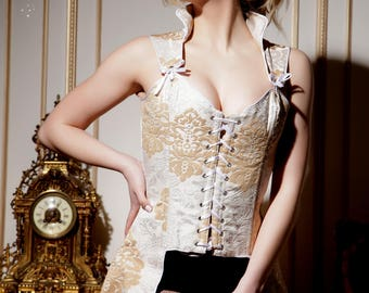 Corset Geraldic, beige waist trainer lingerie by LinCorsets™