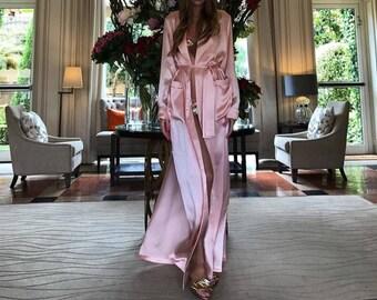 Long Silk Robe/ White Bridal Robe/ Silk Bridal Robe/ Lace Sleeve Robe/ Wedding Robe/ Getting Ready Robe/Christmas Gift/ Gift for her