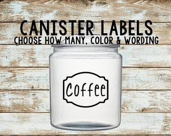 Canister Labels | Canister Decals | Kitchen Canister Labels | Word Vinyl Decal | Customized Labels | 30 Colors