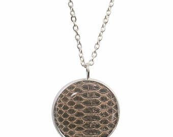 Crocodile Print Design Pendant and Silver Plated Necklace