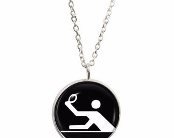Olympic Table Tennis Pendant and Silver Plated Necklace