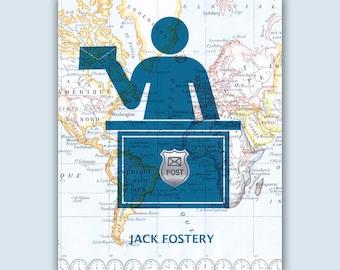 Postal worker, Postman Print, Mailman, PERSONALIZED Postman gift, Gift for postal worker postal print, retirement gift, post office decor