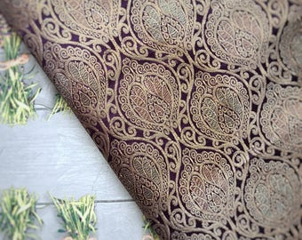 Royal Purple Brocade fabric, Brocade fabric, Banarsi Brocade, Textile, Purple fabric,