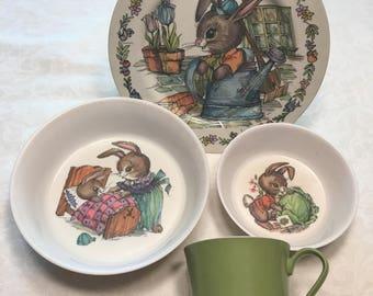 Vintage Oneida 1969 Peter Rabbit Kid's Dishes Set