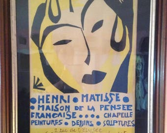 Henri Matisse signed poster framed and from the original Exibition.