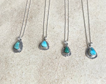 """Natural Turquoise pendant on 18"""" Sterling silver chain"""