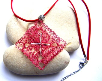 Crocheted in red metallic thread and silver Pearl pendant