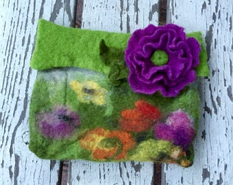 Makeup bag, Cosmetic bag, felted handbag, Bag felt