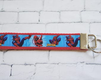 SPIDERMAN key Fob, Superhero  key chain, wristlet keychain, Kids key FOB, Star Wars ribbons. Kids, Gift, comic, TV, Birthday party, teen