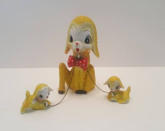 1950s Vintage Chained Yellow Lambs Mom and Babies Japanese Textured Figurine
