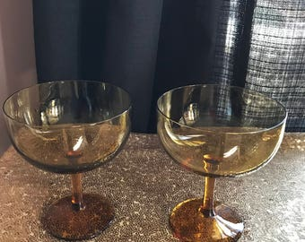 Set Of Two (2) Amber Color Champagne Glasses*