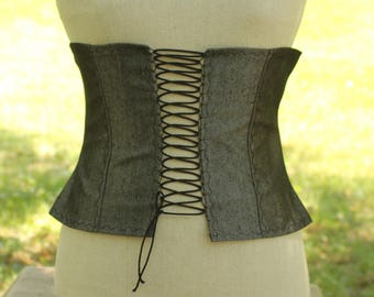 Women's Pirate corset , steampunk corset , Victorian  corset,  Rustic Black and silver corset pirate's clothing victorian clothing