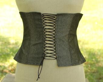Women's Pirate corset , steampunk corset , Victorian  corset,  Rustic Black and silver corset