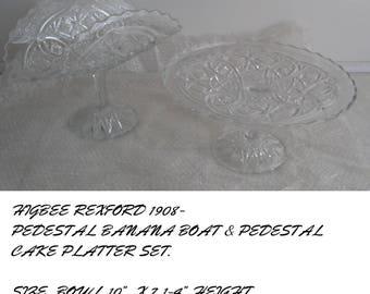 Higbee Eapg Rexford Pedestal Bowl & Banana Bowl-1908
