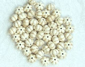50 Off White Pumpkin Beads 12mm Pumpkin Beads Magnesite Pumpkin Beads Corrugated Beads Halloween Beads