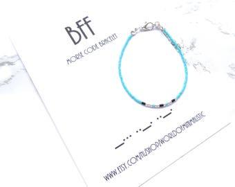 BFF morse code bracelet - BFF Bracelet - minimalist dainty bracelet - morse code jewelry - wish bracelet on a card - friendship gift