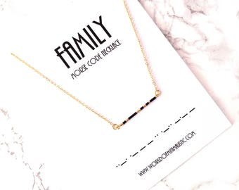 FAMILY morse code necklace, minimalist bar morse code necklace, fine delicate jewelry, family jewelry, bridesmaid jewelry, simple necklace