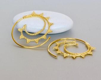 Spiral Ear Hoops, Gold Dipped Hoops, Boho Ear Hoops, Funky Gift Hoops, Piercing Hoops, Ear Wires, Ethnic Earrings, (E143)